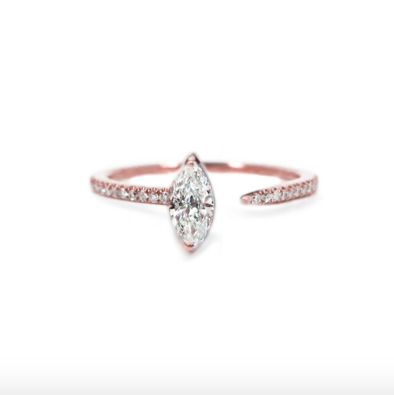 Marquise Crescendo Pavé Ring - Rose Gold