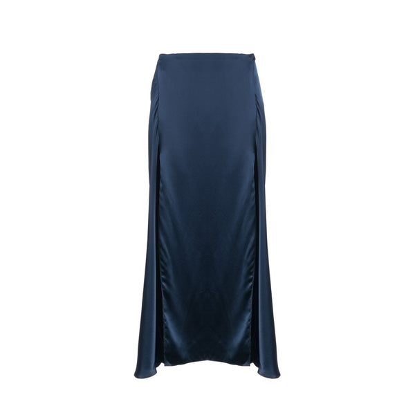 Navy Silk Elrod Skirt