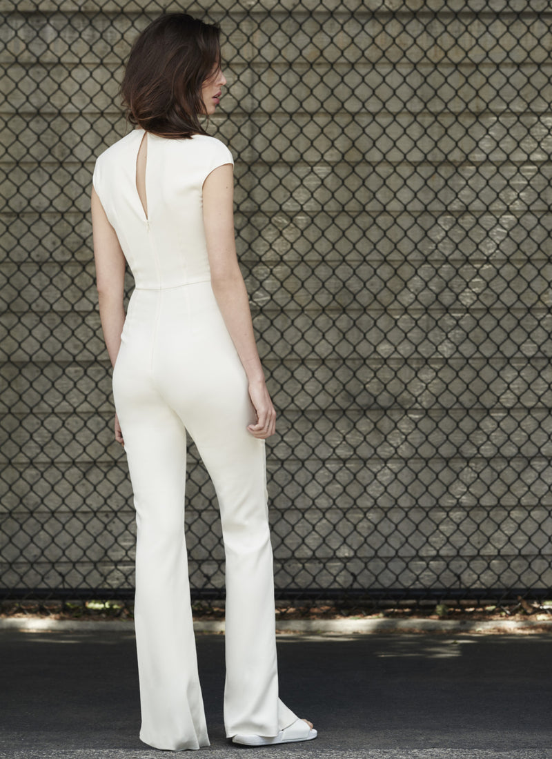 Ivory Crewneck Jumpsuit by STEPHANIE RAD