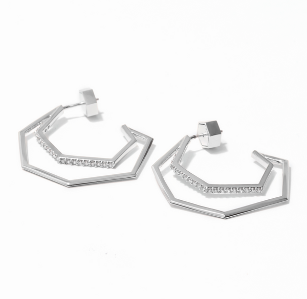 The Aris Pavé Hoop Earrings - Silver