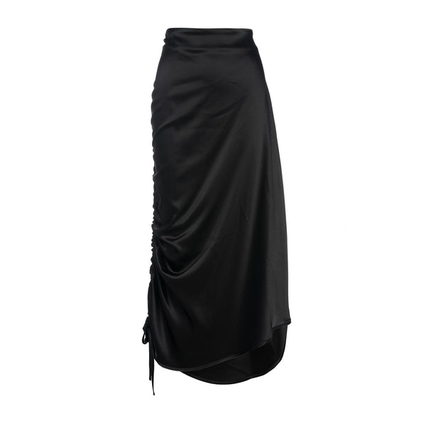Black Satin Ruched Water Skirt by Georgia Alice