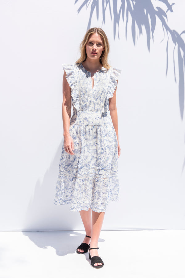 The Chanterelle Dress in Delft Blue