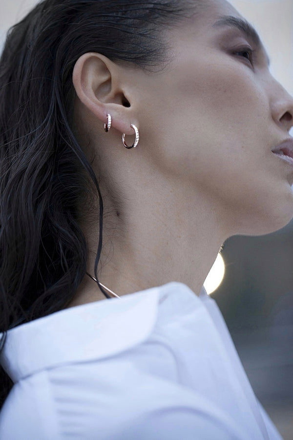 The Pavé Espionne Hoops - Rose Gold - 13mm