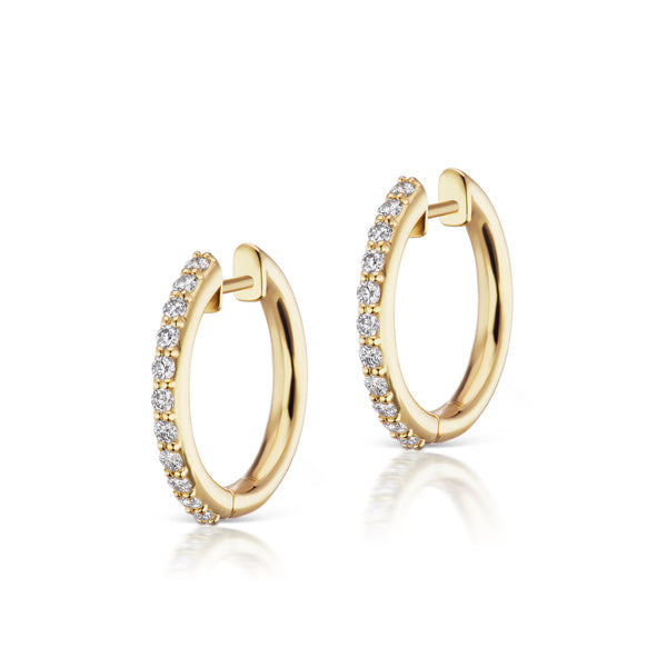 The Pavé Espionne Hoops - Yellow Gold - 13mm