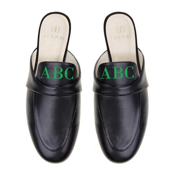 Black Leather Monogram Mules