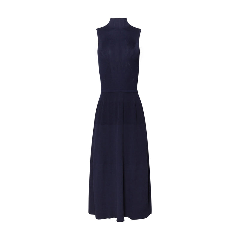Mockneck Navy Contour Rib Dress by KALLMEYER