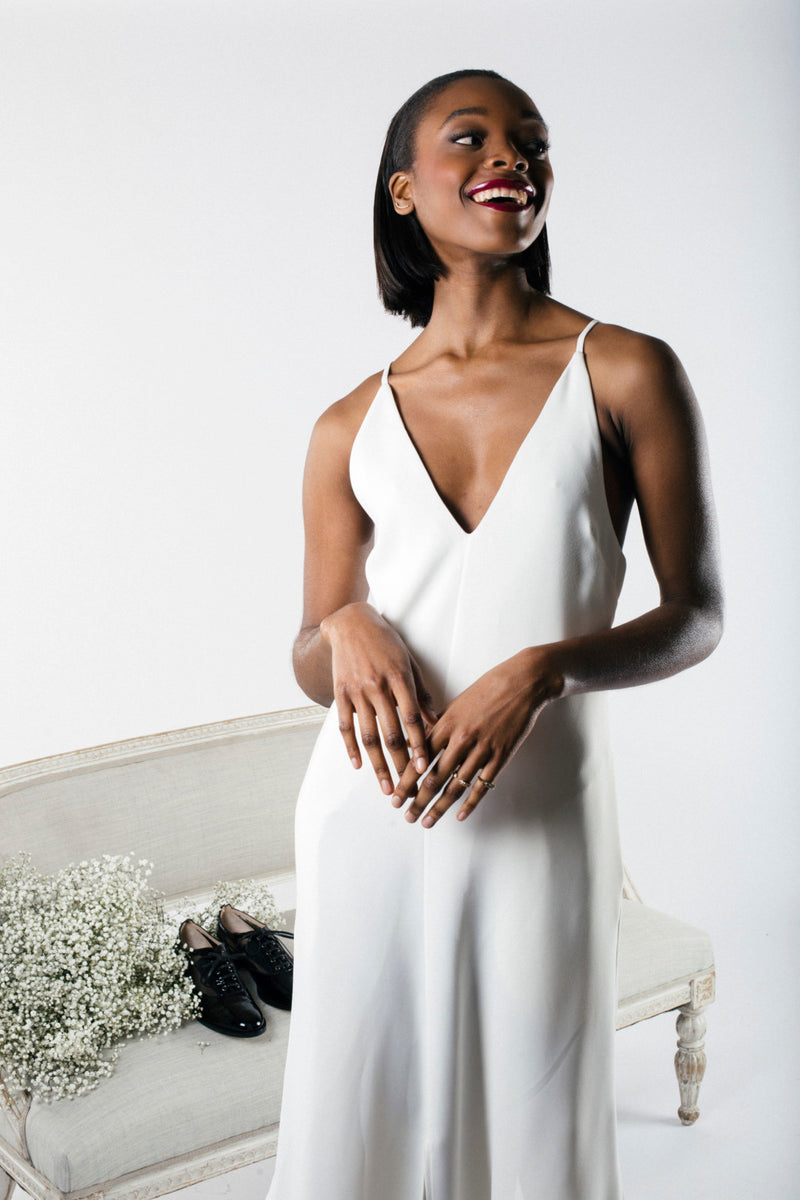 Tailored Ivory Slitted Slip by KALLMEYER
