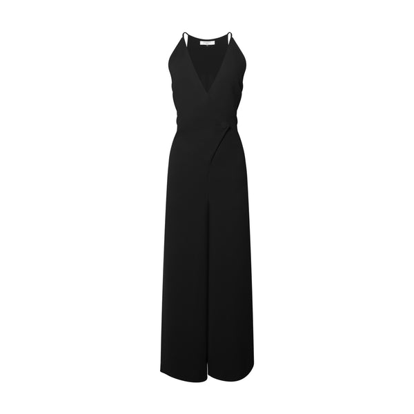 Tailored Black Wrap-Front Jumpsuit by KALLMEYER