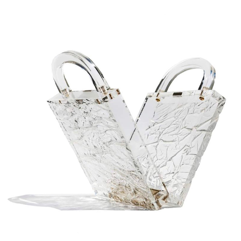 Leon Clear Crushed Ice Top Handle Clutch