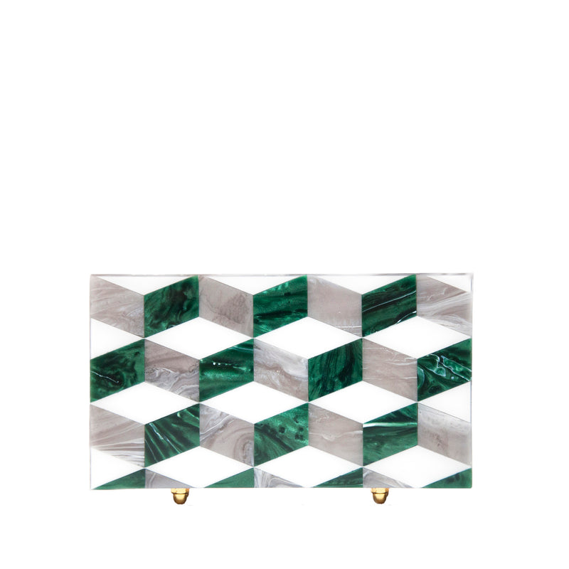 Agatha Emerald Marble Clutch by L'AFSHAR