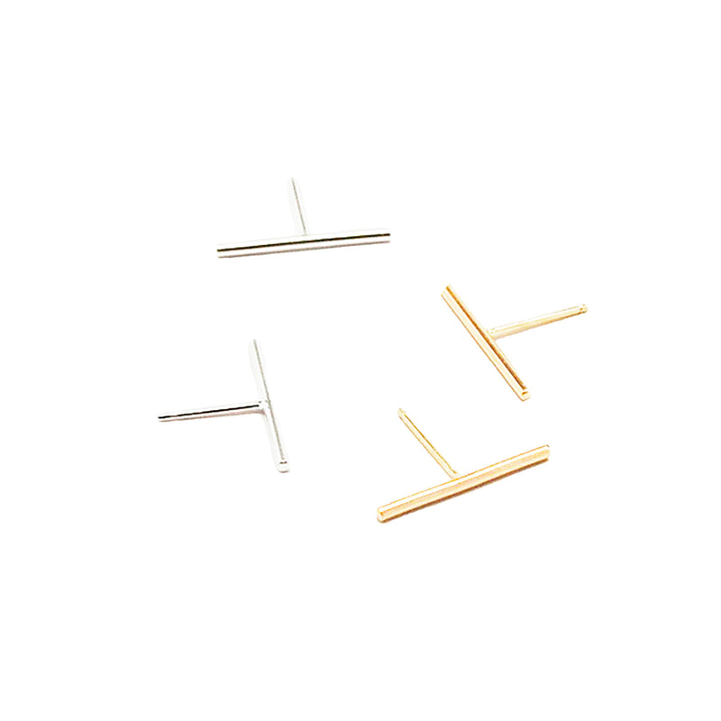 Gold and Silver Long Bar Studs by GIANTLION