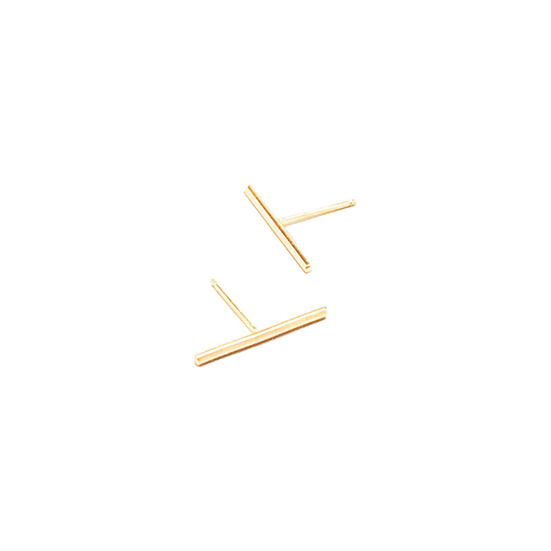 Gold Long Bar Studs by GIANTLION