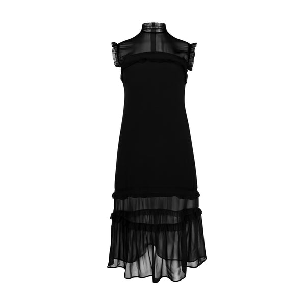 High Neck Sheer Sleeveless Dress