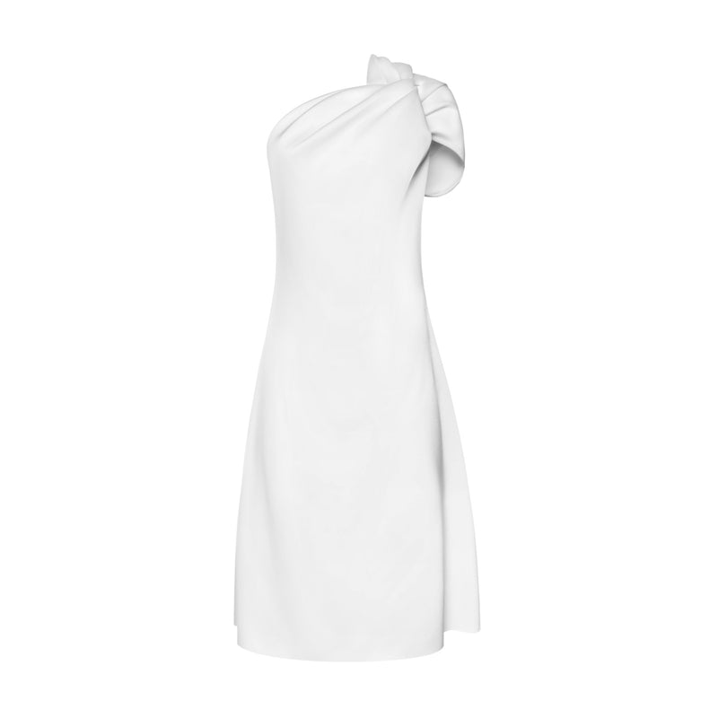 White Knotted One Shoulder Dress by SID NEIGUM