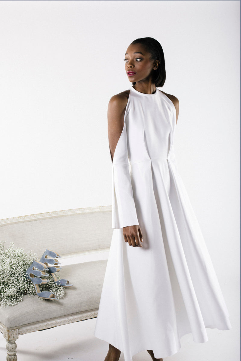 White Shoulder Cut-Out Gown by SID NEIGUM