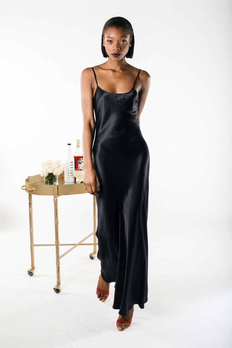 Black Liquid Silk Slip by VOZ