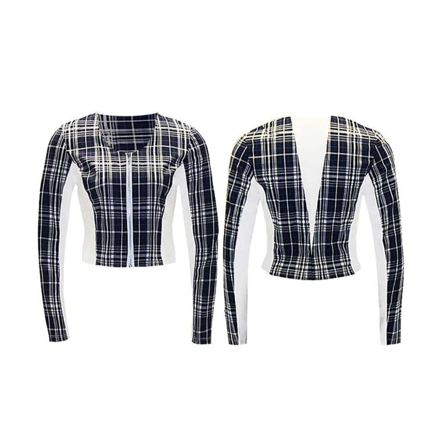 Women's Blue Plaid Golf Jacket