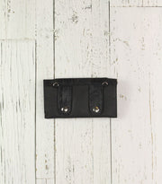 Belt-Crossbody-Phone Pouch- All Black Leather with silver showing clasp (Small)