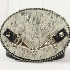 Black/White cowhide belt buckle- small silver horse bit (black tabs)