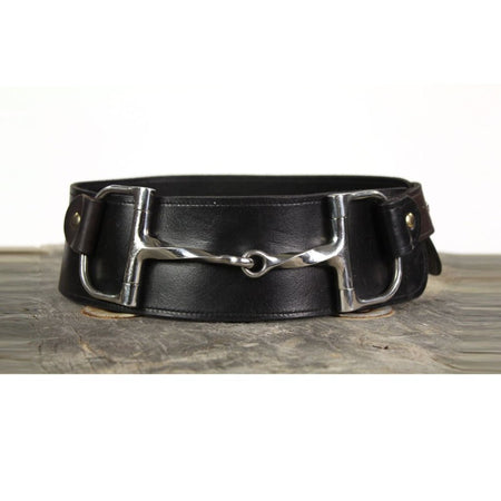 "3"" Wide Leather Belt - Black with Twisted Horsebit"