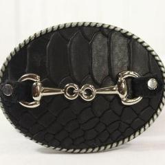 Black embossed belt buckle- small silver horse bit