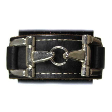 Black Leather Bit Bracelet-Silver