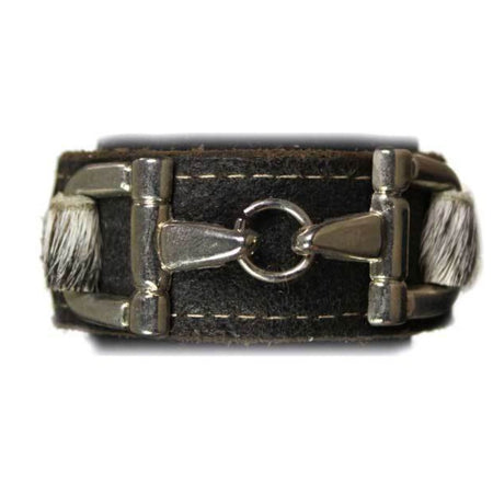 Black Leather Salt and Pepper Cowhide Bit Bracelet- Silver - Sample Sale
