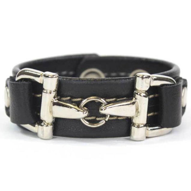 Black Leather Bracelet Silver