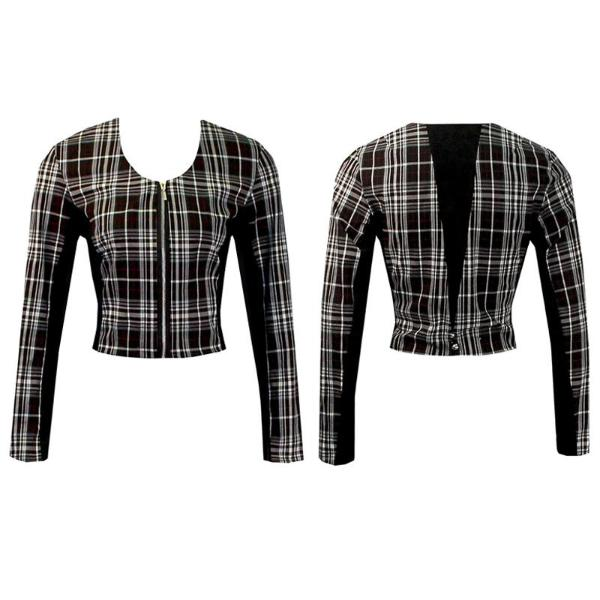 Women's Black and Red Plaid Golf Jacket