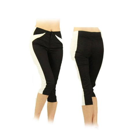 Women's Black and White Golf Capris