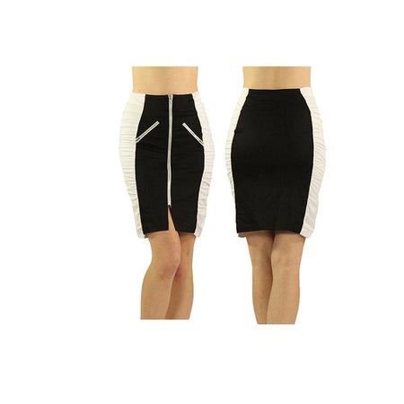 Women's Black and White Ruched Skirt