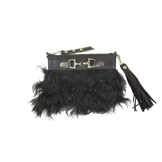 Fur Clutch With Zipper - Black