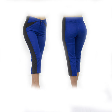 Women's Royal Blue and Black Golf Capris