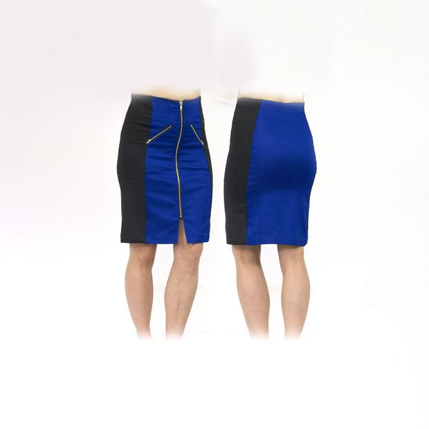 Women's Blue and Black Standard Golf Skort