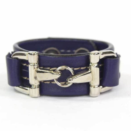 Blue Leather Bracelet Silver