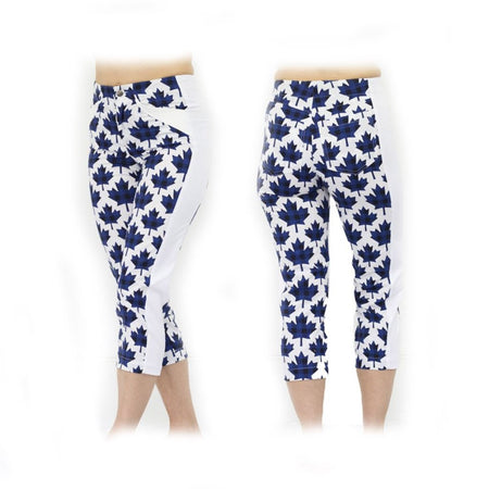 Women's Blue Canadian Maple Golf Capris