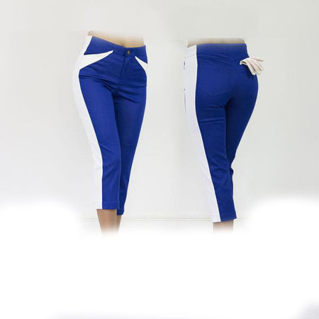Women's Royal Blue and White Golf Capris