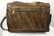 Accent Briefcase - Croc Embossed Brown Leather