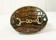 Brown embossed belt buckle- small gold horse bit