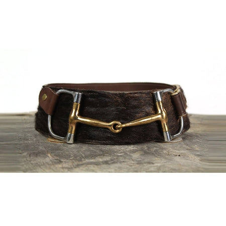"3"" Wide Leather Belt - Brown Fur and Large Bit"