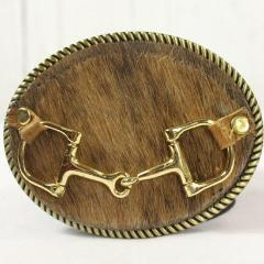 Brown cowhide belt buckle- Large gold horse bit