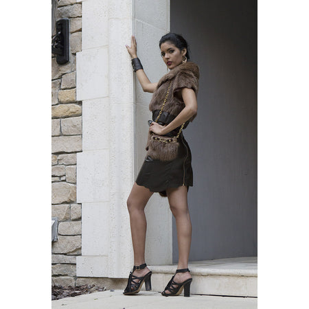 Brown Recycled Mink Leather Skirt and Vest