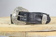 Reversible Belts, Black and White Cow Hide to Black Leather