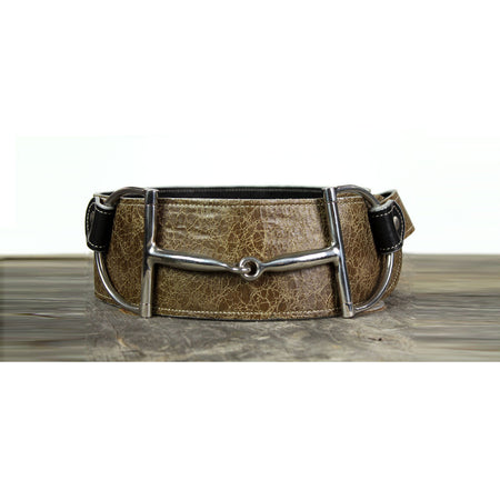 "3"" Wide Leather Belt - Crackle Brown"