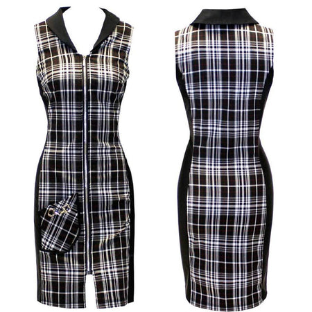 Women's Black and Red Plaid Golf Dress
