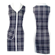 Women's Blue and White Plaid Golf Sleeveless Dress
