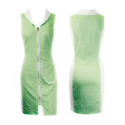 Women's Lime Green and White Golf Sleeveless Dress