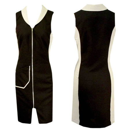 Women's Black and White Sleeveless Golf Dress