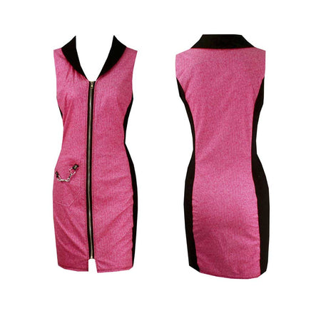 Women's Pink and Black Golf Sleeveless Dress