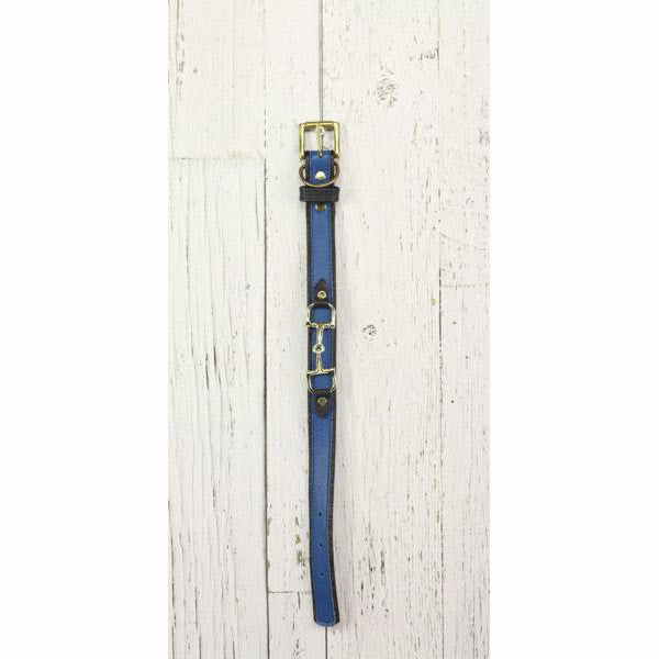 Royal Blue Leather Dog Collar